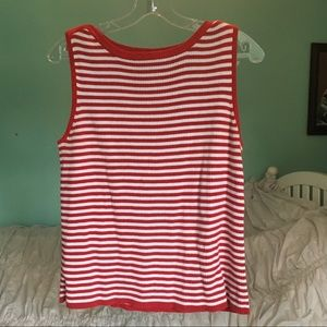 Vintage Red and White Striped Knit Tank Top